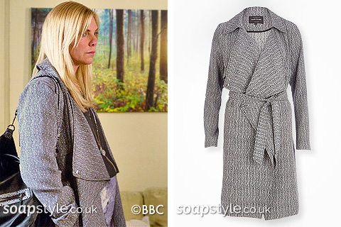 Picture of Ronnie wearing her grey waterfall coat in EastEnders