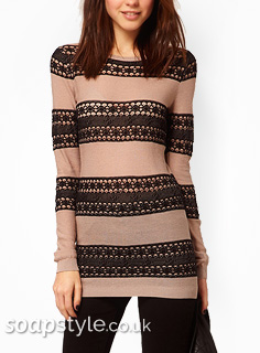 SoapStyle - Hollyoaks - Diane's Lace Stripe Jumper - Where From