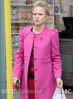 Linda's bright pink coat in EastEnders - SoapStyle