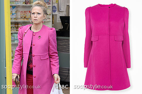 Linda's bright pink coat in EastEnders - Found - SoapStyle