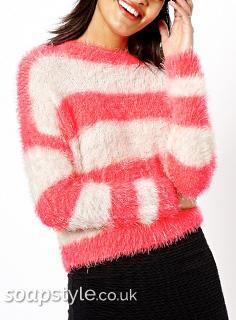 Theresa's Fluffy Pink Stripe Jumper