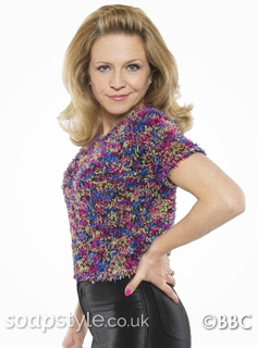 Linda Carter's Multicolour Fluffy Top in EastEnders - SoapStyle