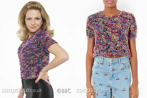 Linda Carter's Multicolour Fluffy Top in EastEnders - Details - SoapStyle