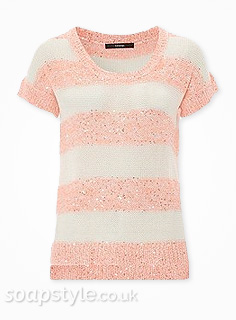 Beth's Pink & White Sequin Stripe Jumper