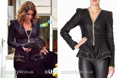 Carla's Black Jacket Gold Zips - Corrie - SoapStyle