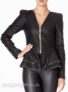 Carla's Black Jacket Gold Zips - Where From - Corrie - SoapStyle