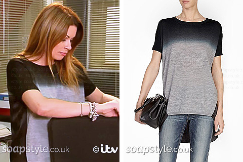 Carla's Grey & Black Ombre Top in Corrie - SoapStyle