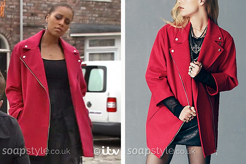 Steph's Red Pink Biker Coat - Corrie - SoapStyle