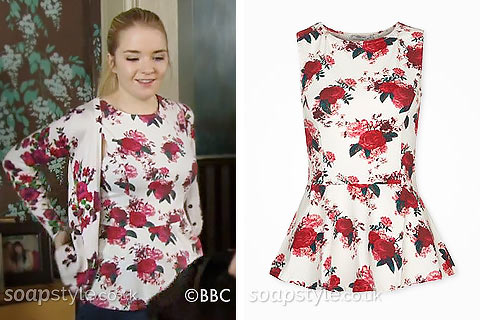 The floral peplum top Abi wore in EastEnders - SoapStyle