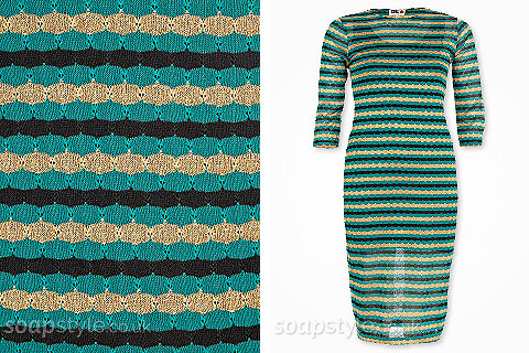 Maria's Green & Gold Stripe Dress
