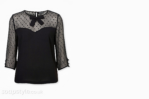 Michelle's Black Bow Top - Corrie - Where From - SoapStyle