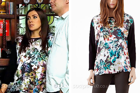 Michelle's Floral Top With Black Sleeves