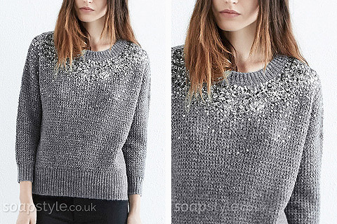 Steph's Grey Embellished Jumper - Corrie - Where From - SoapStyle