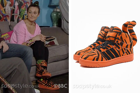 Picture of a match for Tina Carter's tiger trainers in EastEnders