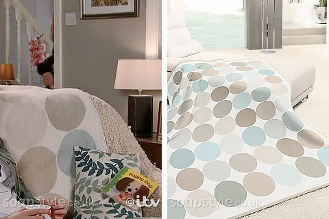 Kevin's Cream & Blue Spot Living Room Sofa Throw