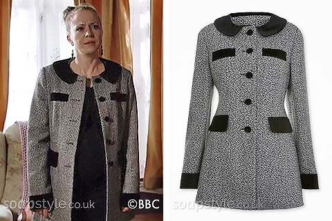 Linda Carter's black & grey coat in EastEnders - Found - SoapStyle