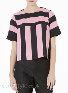 Lindsey's Pink & Black Stripe Top - Hollyoaks - SoapStyle