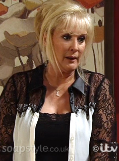 Liz's White & Black Lace Top - Corrie - Episode - SoapStyle