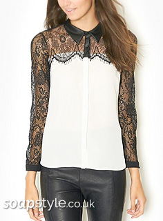 Liz's White & Black Lace Blouse / Shirt