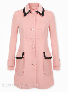 SoapStyle | Corrie / Coro - Tracy's Pink & Black Trim Coat