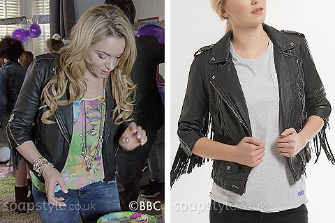 Roxy Mitchell's Fringe Biker Jacket in EastEnders - Found - SoapStyle