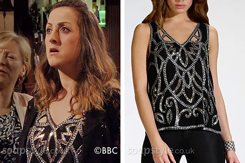 Sonia's Silver & Black Embellished Top - EastEnders - SoapStyle