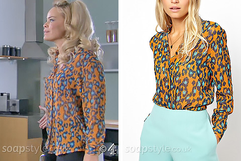 Grace's Orange Animal Print Blouse - Hollyoaks - SoapStyle