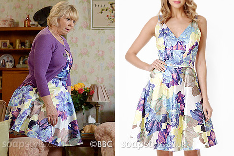 Picture of Pam Coker wearing her satin floral prom dress in EastEnders