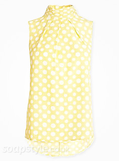 Sally's Yellow Polka Dot Sleeveless Top - Corrie - Details - SoapStyle