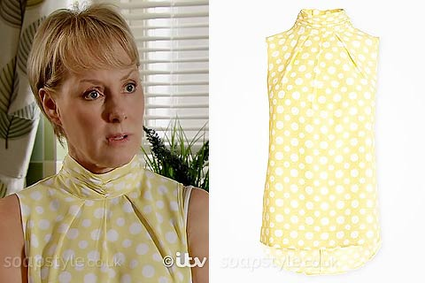 Sally's Yellow Polka Dot Sleeveless Top - Corrie - Episode - SoapStyle