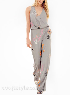 Chas' Grey Floral Jumpsuit