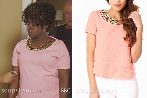 Picture of Kim Fox wearing her coral pink & gold embellished top in EastEnders