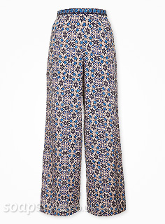 Kim's Tile Print Flare Trousers in Hollyoaks - Details - SoapStyle
