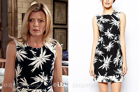 Leanne's Black & White Print Dress - Corrie - Episode - SoapStyle