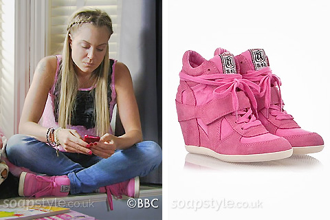Roxy Mitchell's Pink Hi-Top Wedge Trainers in EastEnders - Details - SoapStyle
