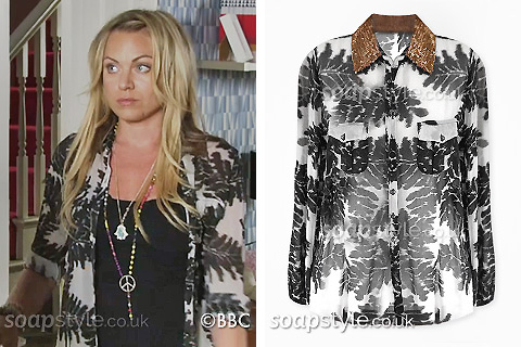 Picture: A match for Roxy Mitchell's leaf print shirt in EastEnders