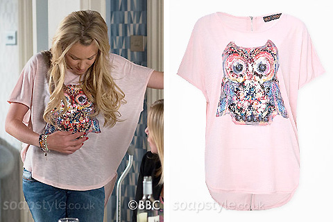 Roxy Mitchell's pink sequin owl top in EastEnders - Details - SoapStyle