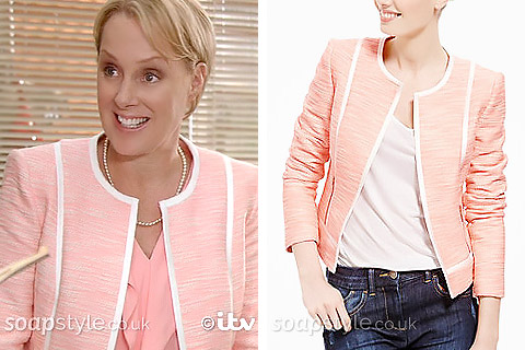 Sally's Pink Suit Jacket in Coronation Street - Details - SoapStyle