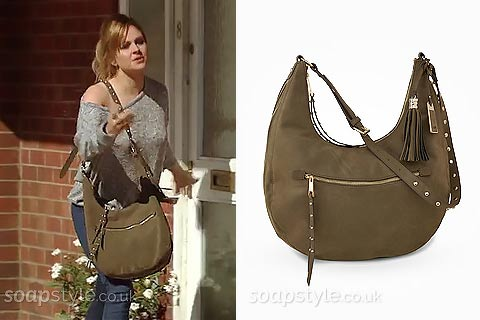 Sarah-Lou Platt's Khaki Green Bag in Corrie - Where From - SoapStyle