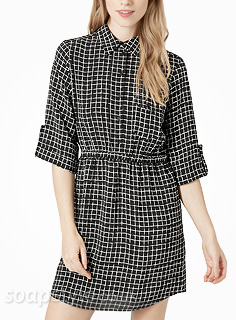 Sienna's Black & White Shirt Dress
