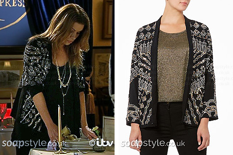 Carla's Sparkly Beaded Jacket in Corrie Live - SoapStyle
