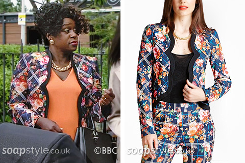 Picture of Kim Fox wearing her floral blazer jacket in EastEnders