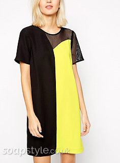 Liz's Yellow & Black Mesh Panel Dress