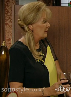 Liz's Yellow & Black Mesh Panel Dress in Corrie - Episode - SoapStyle
