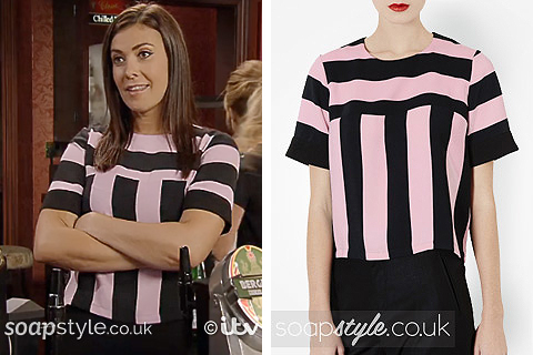 Michelle's Pink & Black Stripe Top in Corrie - Episode - SoapStyle