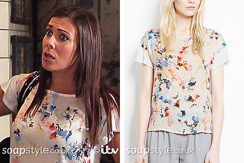 Michelle Connor's White Floral Print Top in Coronation Street - SoapStyle