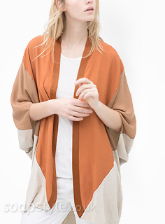 Porsche's Orange, Tan & Cream Kimono Cardigan