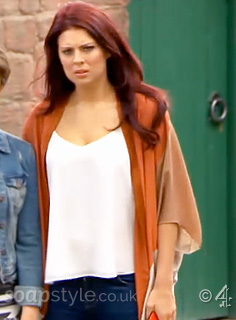 Porsche's Orange & Tan Kimono Cardigan in Hollyoaks - Episode - SoapStyle