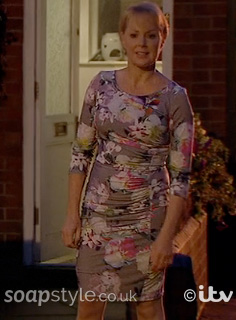 Sally Webster's Grey Floral Dress in Coronation Street Live - SoapStyle