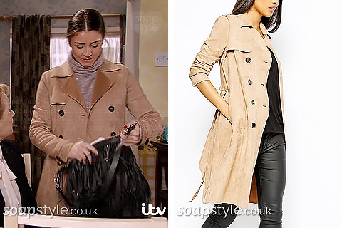 Picture of Sophie wearing her suede mac trench coat in Corrie